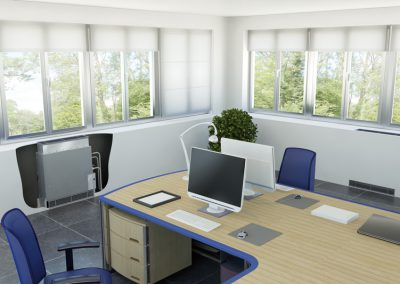 DAIKIN-Truhengerät ohne Gehäuse im Büro